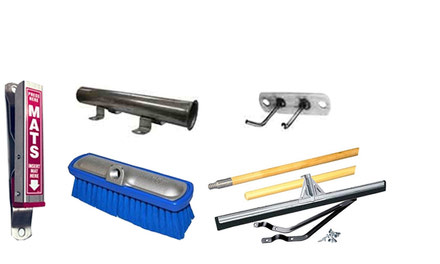 Shop Supplies - Mat Clamps, Wand Holder, Floor Squeegees